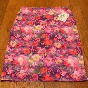 Lularoe Cassie skirt pastel multi flower Large NWT